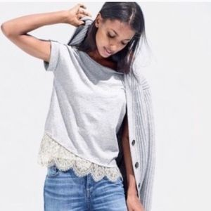 J. Crew White Lace Trim Heather Gray T-shirt XS